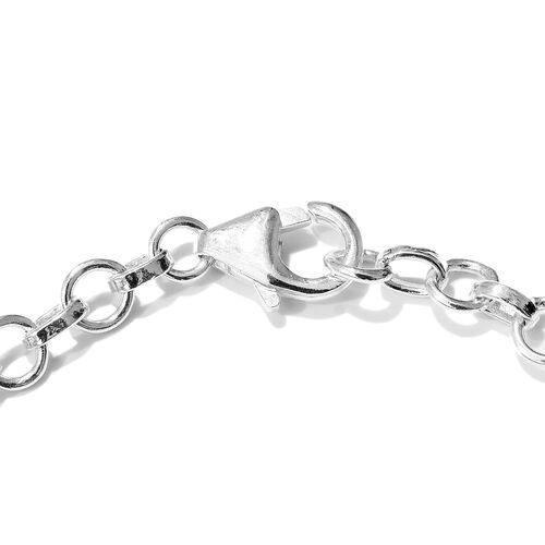 Larimar (Ovl) Dolphin Bracelet (Size 7.5) in Sterling Silver 6.750 Ct. Silver wt 6.00 Gms.