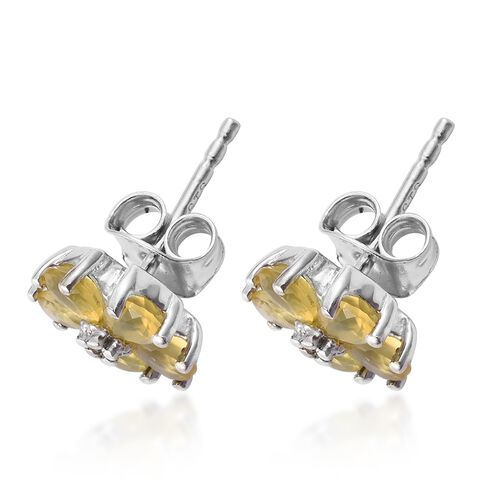 Natural Canary Opal (Pear), Natural Cambodian Zircon Floral Stud Earrings (with Push Back) in Platinum Overlay Sterling Silver 1.000 Ct.