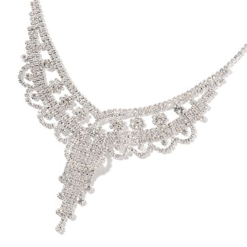 Designer Inspired- AAA White Austrian Crystal Chandelier Necklace (Size 16 with 6 Inch Extender) and Earrings (with Push Back) Silver Tone