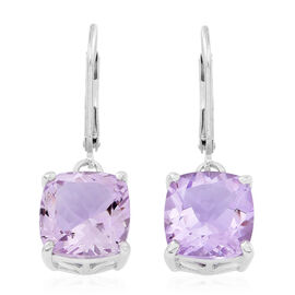 AAA Rose De France Amethyst (Cush) Lever Back Earrings in Rhodium Plated Sterling Silver 8.000 Ct.