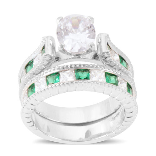 AAA Simulated Diamond (Ovl), Simulated Emerald 2 Ring Set in Silver Bond