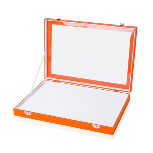 Tangerine Colour 100 Slot Ring Box with Transparent Top and Velvet Inside (Size 35X24X4.6 Cm)