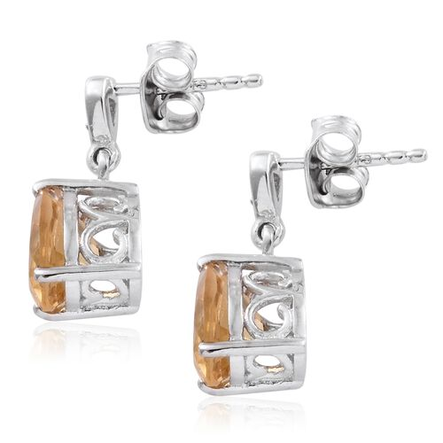 Citrine (Pear), Natural Cambodian Zircon Earrings (with Push Back) in Platinum Overlay Sterling Silver 3.750 Ct.