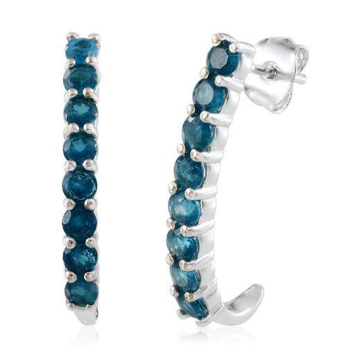 Malgache Neon Apatite (Rnd) J Hoop Earrings in Platinum Overlay Sterling Silver 1.500 Ct.