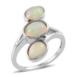 Ethiopian Welo Opal (Ovl) 3 Stone Ring in Platinum Overlay Sterling Silver 2.250 Ct.