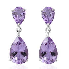 Rose De France Amethyst (Pear) Drop Earrings (with Push Back) in Rhodium Plated Sterling Silver 12.960 Ct.