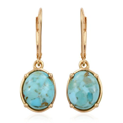 Arizona Matrix Turquoise (Ovl) Lever Back Earrings in 14K Gold Overlay Sterling Silver 5.250 Ct.