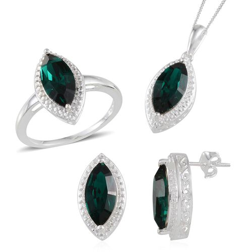 Crystal from Swarovski - Emerald Colour Crystal (Mrq) Solitaire Ring, Pendant and Stud Earrings (with Push Back) in Sterling Silver