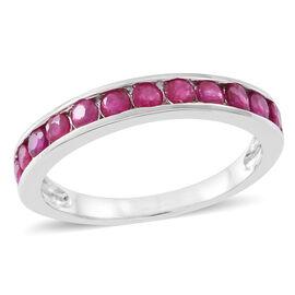 Burmese Ruby (Rnd) Half Eternity Ring in Rhodium Plated Sterling Silver 1.250 Ct.