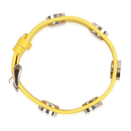 Yellow Studded Leather Bracelet (Size 8.5) in Stainless Steel