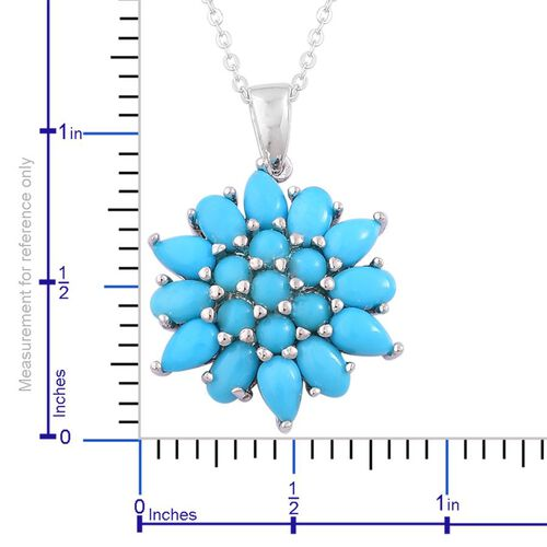 Arizona Sleeping Beauty Turquoise (Rnd), Floral Pendant With Chain in Rhodium and Platinum Overlay Sterling Silver 3.750 Ct.
