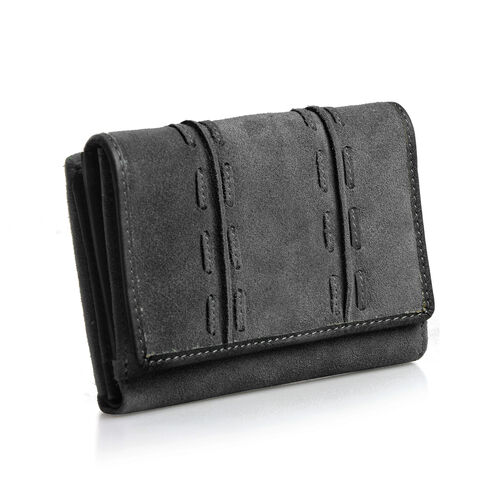 Genuine Leather RFID Blocker Black Colour Wallet with Multiple Card Slots (Size 13.3X10.7X3.15 Cm)