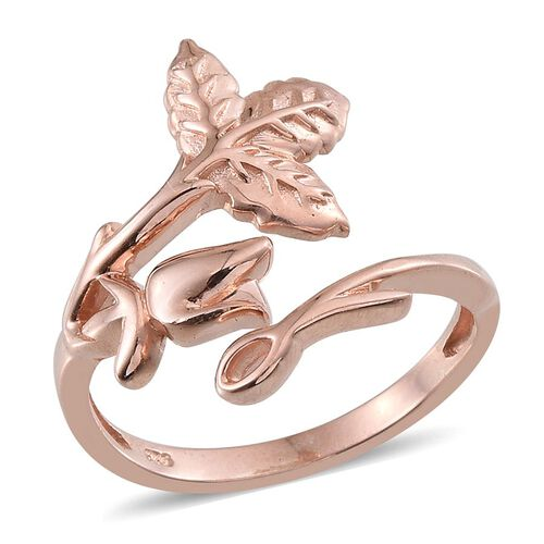 Rose Gold Overlay Sterling Silver Leaves and Floral Ring, Silver wt 5.09 Gms.