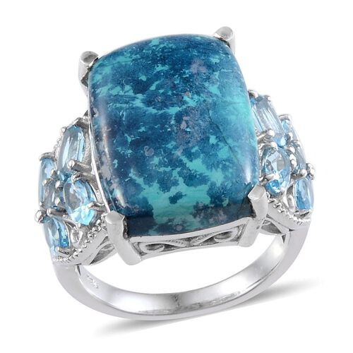Table Mountain Shadowkite (Cush 12.25 Ct), Electric Swiss Blue Topaz Ring in Platinum Overlay Sterling Silver 14.010 Ct.