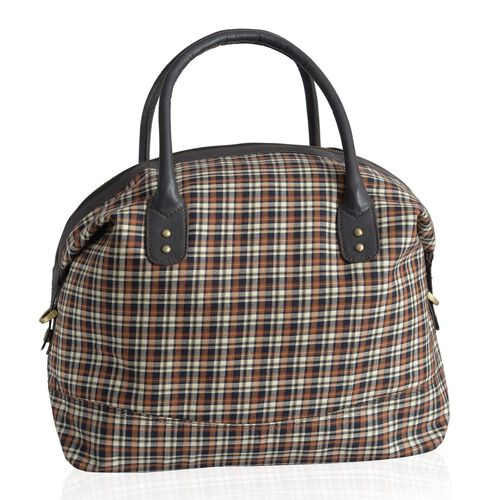 Genuine Leather Woolen Blend Chocolate, White and Multi Colour Checks Weekend Bag  (Size 53x32x25 inch)