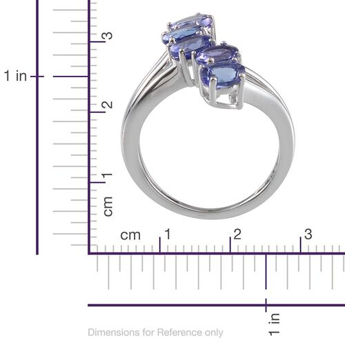 9K W Gold AA Tanzanite (Ovl) 5 Stone Crossover Ring 1.750 Ct.