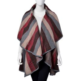 Designer Inspired - Grey, Red and Multi Colour Stripes Pattern Gilet (Size 150X140 Cm)