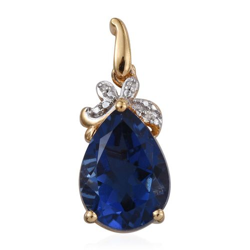 Ceylon Colour Quartz (Pear 5.75 Ct), Diamond Pendant in 14K Gold Overlay Sterling Silver 5.760 Ct.