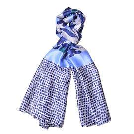 Designer Inspired - Navy, Light Blue and Green Colour Flowers, Leaves and Dots Pattern Scarf (Size 180X90 Cm)