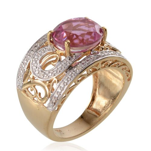 Kunzite Colour Quartz (Ovl 5.75 Ct), Diamond Ring in 14K Gold Overlay Sterling Silver 5.800 Ct.