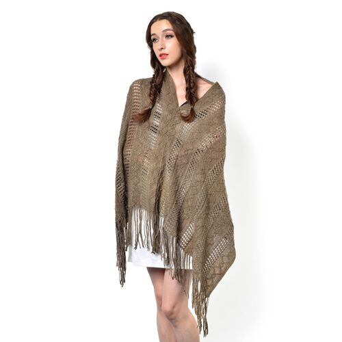 Camel Colour Knitted Poncho with Tassels (Free Size)