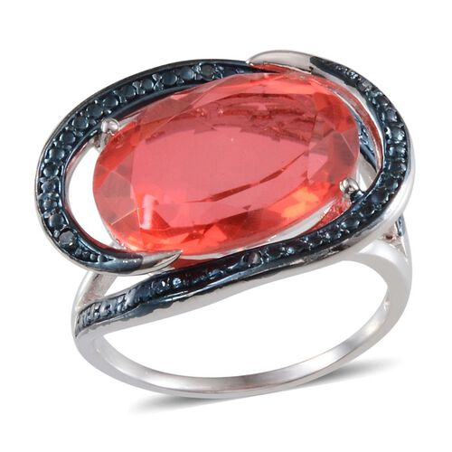 Padparadscha Colour Quartz (Ovl 8.75 Ct), Blue Diamond Ring in Platinum Overlay Sterling Silver 8.780 Ct.