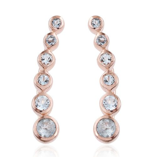 Espirito Santo Aquamarine 0.85 Ct Silver Climber Earrings in Rose Gold Overlay