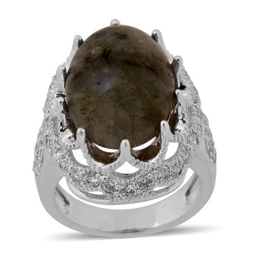 Labradorite (Ovl 10.00 Ct), Simulated White Diamond Ring in Silver Tone 14.800 Ct.