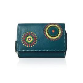 Genuine Leather RFID Blocker Dark Green, Yellow and Multi Colour Hand Embroidered Circular Design Wallet with Multiple Card Slots (Size 12X8X3 Cm)