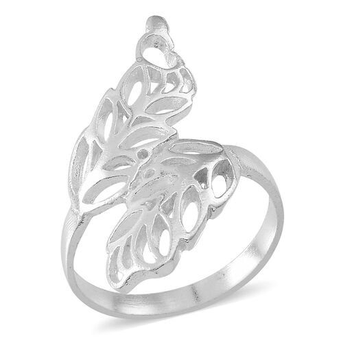 Sterling Silver Leaves Crossover Ring, Silver wt 3.57 Gms.