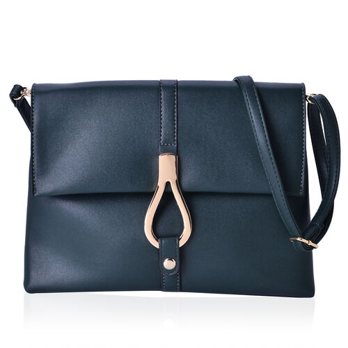 Dark Green Colour Middle Size Crossbody Bag with Adjustable and Removable Shoulder Strap (Size 27x20x7 Cm)