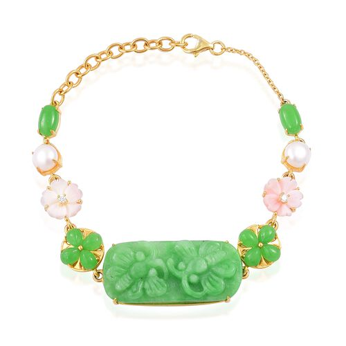 Exclusive Edition- Rare AAA Hand  Carved Green Jade, Pink Mother of Pearl, White Pearl and Natural White Cambodian Zircon Floral Bracelet (Size 8) in Yellow Gold Overlay Sterling Silver 43.080 Ct.