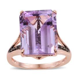 Rose De France Amethyst (Oct), Black Diamond Ring in Rose Gold Overlay Sterling Silver 11.250 Ct.
