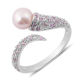 PEARL EXPRESSIONS Japanese Akoya Pearl (Rnd), Pink Sapphire Ring in Rhodium Plated Sterling Silver