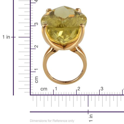 Brazilian Green Gold Quartz (Pear) Solitaire Ring in 14K Gold Overlay Sterling Silver 55.000 Ct.