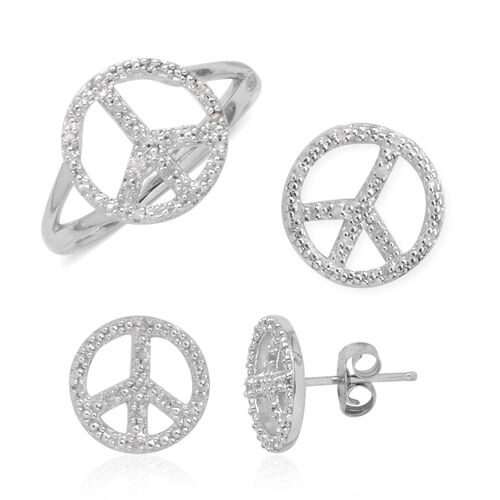 Diamond (Rnd) Peace Ring, Pendant and Stud Earrings (with Push Back) in Sterling Silver, Silver wt 6.20 Gms.