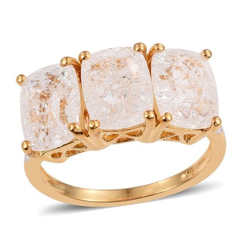 Diamond Crackled Quartz (Cush) Trilogy Ring in 14K Gold Overlay Sterling Silver 6.250 Ct.