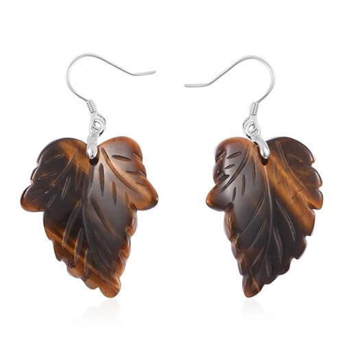 Carved Tigers Eye Hook Earrings in Rhodium Plated Sterling Silver 31.500 Ct.
