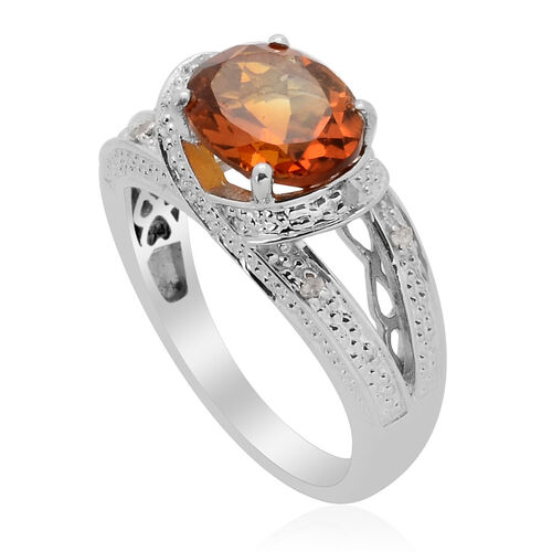 Madeira Citrine (Ovl 2.30 Ct) Diamond Ring in Platinum Overlay Sterling Silver 2.350 Ct.
