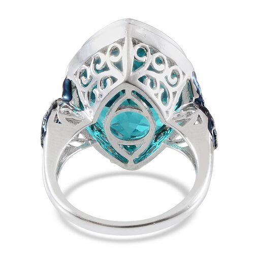 Capri Blue Quartz (Mrq 17.75 Ct), Blue Diamond Ring in Platinum Overlay Sterling Silver 17.770 Ct.