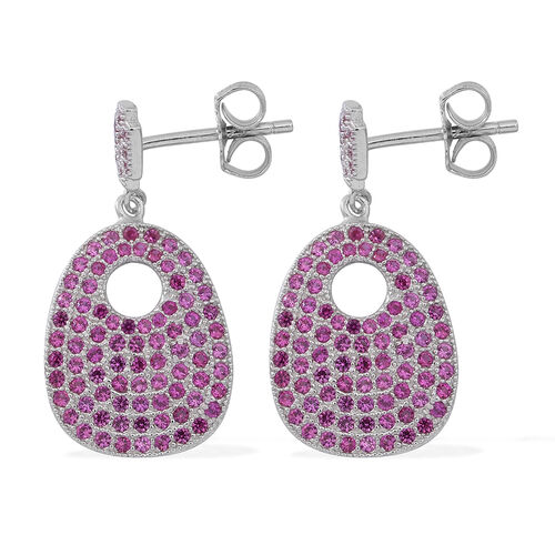 ELANZA AAA Simulated Ruby (Rnd) Earrings (with Push Back) in Rhodium Plated Sterling Silver