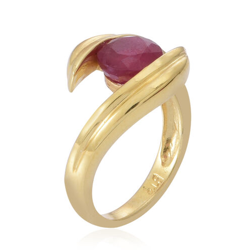 African Ruby (Rnd) Solitaire Ring in 14K Gold Overlay Sterling Silver 2.000 Ct.