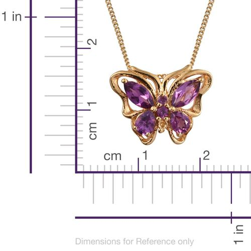 Rare Mozambique Grape Colour Garnet (Mrq) Butterfly Pendant With Chain in 14K Gold Overlay Sterling Silver 1.000 Ct.