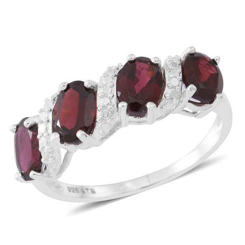 Orrisa Rhodolite Garnet (Ovl) Ring in Sterling Silver 4.000 Ct.