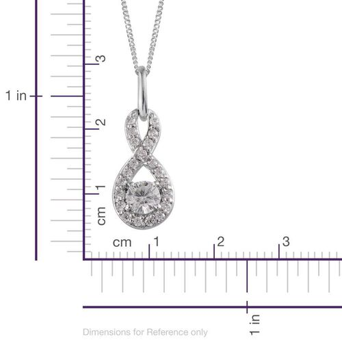 Simulated Diamond (Rnd) Infinity Pendant With Chain in Platinum Overlay Sterling Silver