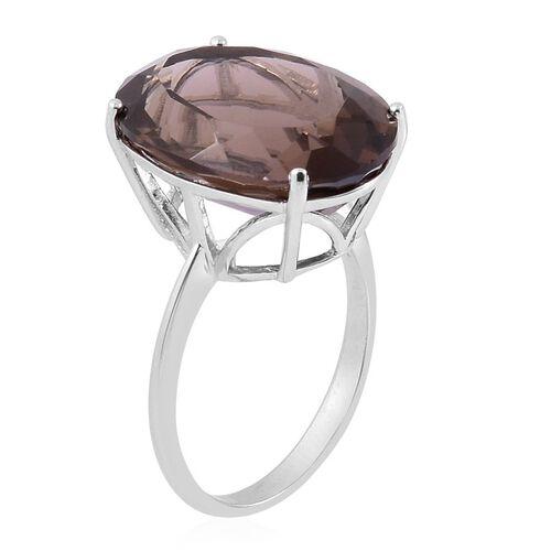 Rare Size Brazilian Smoky Quartz (Ovl) Ring in Rhodium Plated Sterling Silver 17.000 Ct.