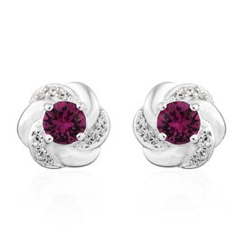 J Francis Crystal from Swarovski - Fuchsia Crystal (Rnd), White Crystal Stud Earrings (with Push Back) in Sterling Silver