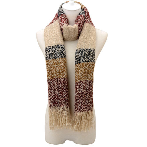 Burgundy and Multi Colour Scarf (Size 65x195 Cm)