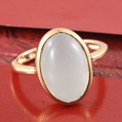 Aqua Chalcedony 7 Carat Silver Solitaire Ring in Gold Overlay