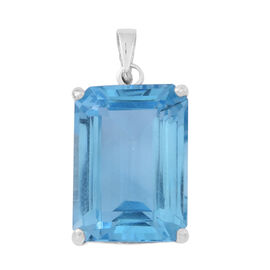 Very Rare AAA Swiss Blue Topaz (Oct) Pendant in Rhodium Plated Sterling Silver 18.750 Ct.